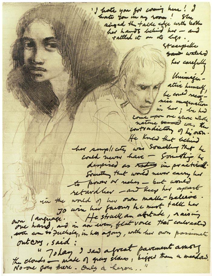 Gormenghast, Orijinal el yazması. Çizimler yazara ait