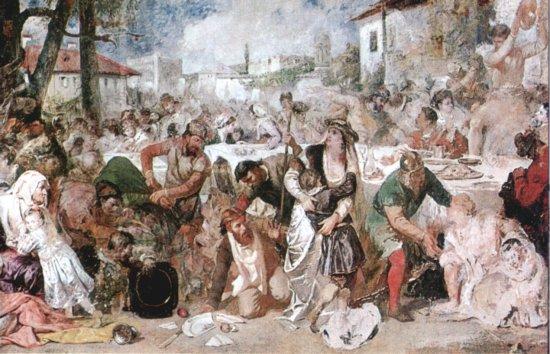 Theodor Aman'ın fırçasından, Vlad Tepeş'in ziyafet düzenleyip yakalattığı boyarlar, 19. yy