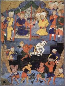 Zülkarneyn anlatısında geçen, Zülkarneyn'in Yecüc ve Mecüc'ü engelleyecek bir set inşa ettirmesini betimleyen, 16. yüzyıldan kalma bir Fars minyatürü.